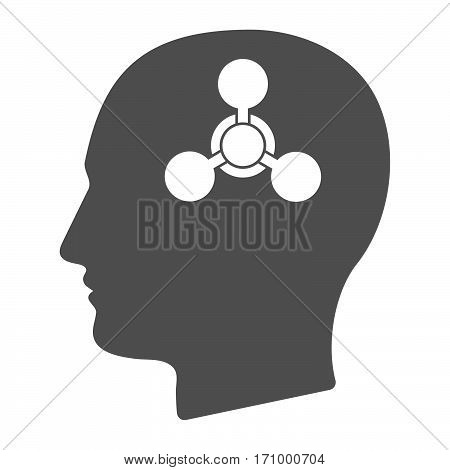 Isolated Male Head With A Chemical Weapon Sign