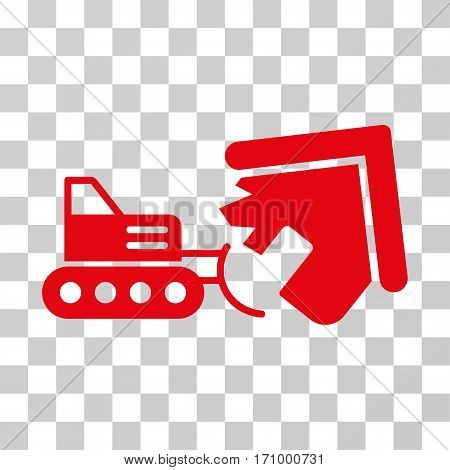 Demolition icon. Vector illustration style is flat iconic symbol red color transparent background. Designed for web and software interfaces.