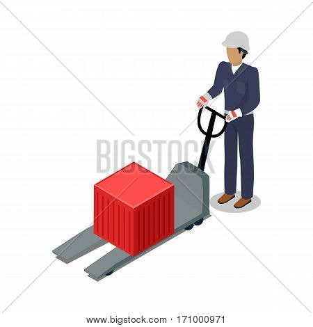 Warehouse worker with container on electric forklift. Dock worker with trolley. Loader isolated on white. Man with hand truck. Loading and unloading cargo goods. Industrial shipping concept. Vector