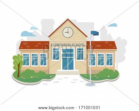 Best school building vector illustration. Flat design. Public educational institution. Modern projects of educational establishments. School facade and yard. Front view. College organization