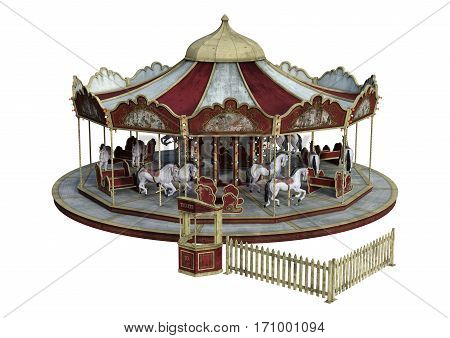 3D rendering of a vintage carousel isolated on white background