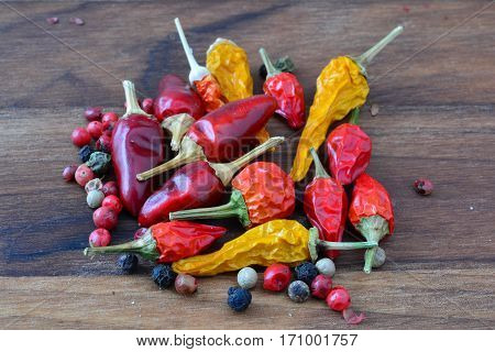 Hot spices heap of mixed fresh and dry red and yellow chilli peppers and red black and white peppercorns on dark wooden background
