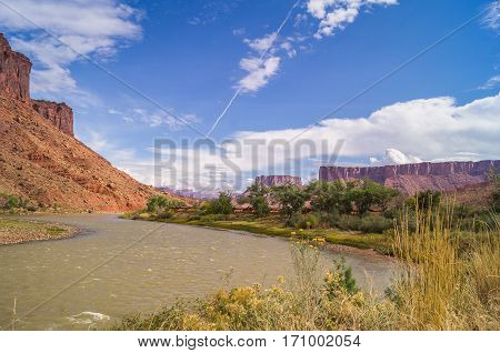 The Upper Colorado River Scenic Byway (State Route 128),Utah,USA.