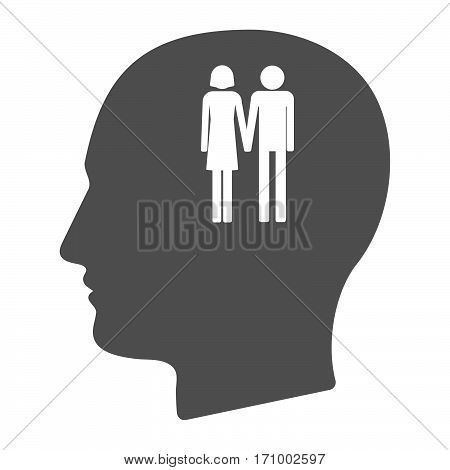 Isolated Male Head With A Heterosexual Couple Pictogram