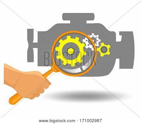 Car engine diagnostics. Engine flat vector illustration.