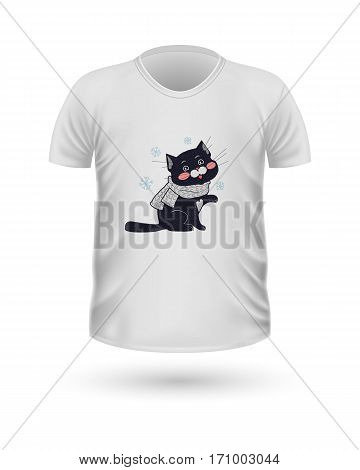 T-shirt front view with animals isolated on white. Realistic t-shirt vector in flat. Cartoon character cat in winter cloth. Casual wear. Cotton unisex polo outfit. Fashionable apparel