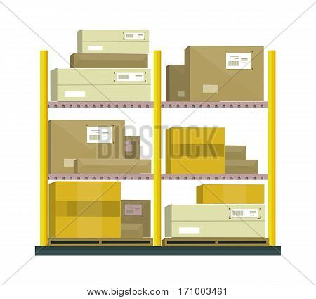 Shelf with cartoon box. Box and cartoon, shelving and carton box, paper box, cartoon frame, warehouse storage with box, cardboard container, cargo cartoon box illustration in flat