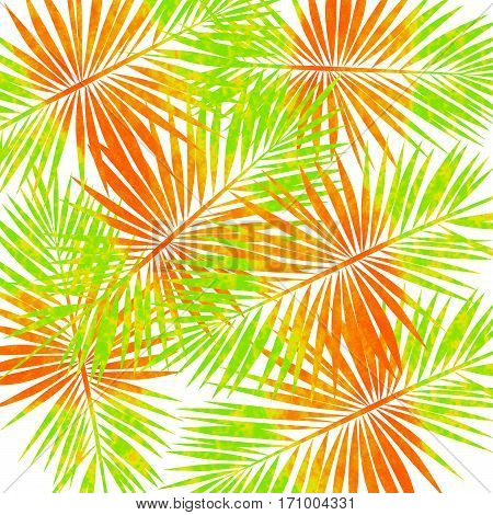 shades of green orange and yellow in palm leaves