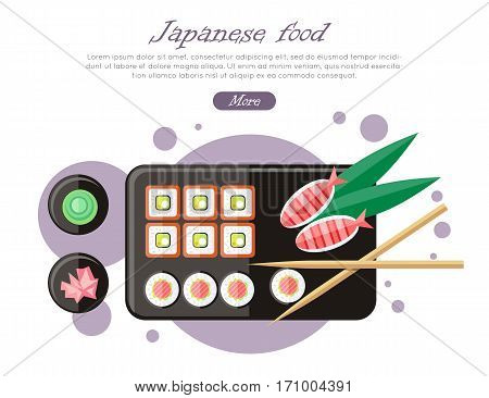 Japanese food illustration in flat style. Japan sushi with wasabi and ginger. Restaurant asian food, rice and seafood, fish sushi, asia dinner, fresh sushi and chopstick, oriental lunch logo. Vector