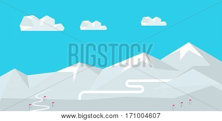 Winter landscape with snow covered mountains. Mountains with snow in winter. Mountains landscape, abstract blue panoramic view. Mountains ski resort. Nature background. Vector illustration.