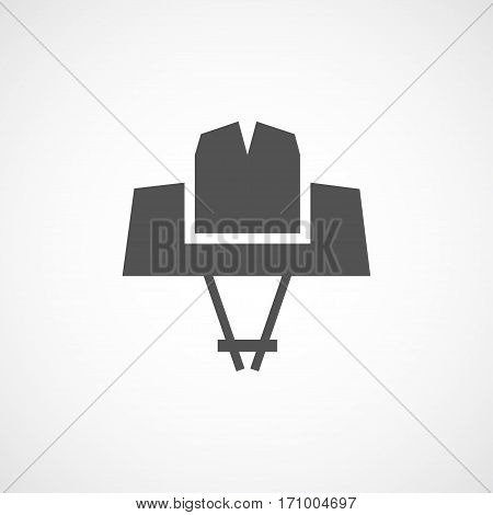 Vector black geometrical cowboy hat icon. Isolated black icon for logo web site design app UI. Geometrical cowboy hat illustration for posters cards book cover flyers banner web game designs.