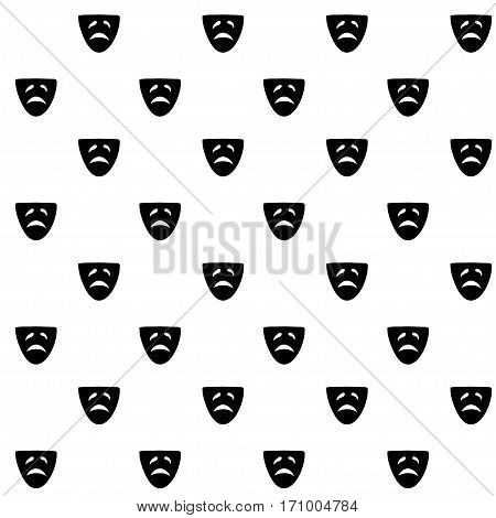 Vector hand drawn cartoon seamless pattern with drama mask. Cinema theater theme. Black and white drama pattern for paper textile polygraphy game web design