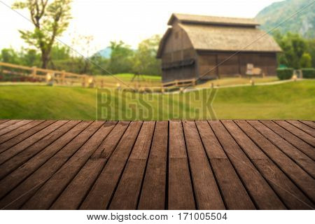 Perspective Empty Wooden Terrace With Farm Shed