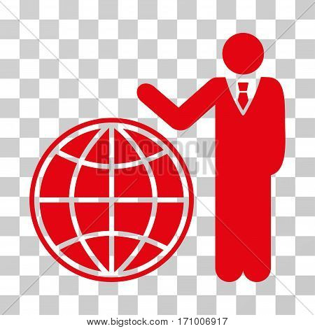 Planetary Manager icon. Vector illustration style is flat iconic symbol red color transparent background. Designed for web and software interfaces.