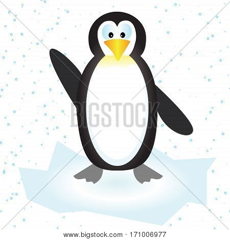 Vector illustration of a cute penguin on the ice floe with snow.