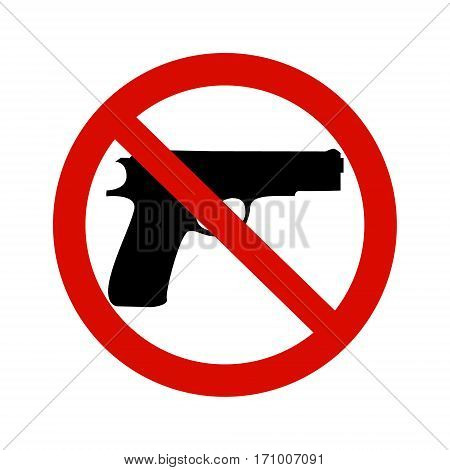 Black gun and red round inhibitory sign. Pacifism concept.
