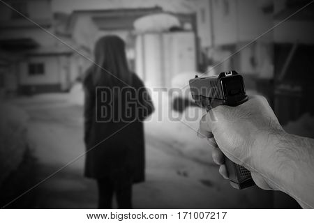 Blurred Background Concept Of Terrorist Attack People