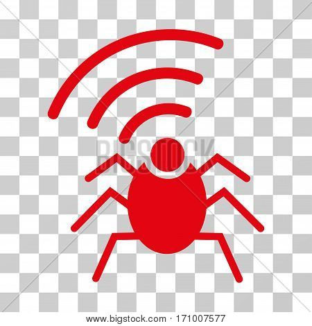 Radio Spy Bug icon. Vector illustration style is flat iconic symbol red color transparent background. Designed for web and software interfaces.