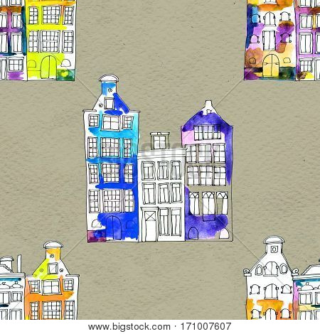 Netherlands houses hand drawn seamless pattern. Doodle background. Wrapping paper with Amsterdam city, urban style design. Decorative watercolor wallpaper, good for print. Old town