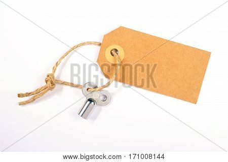 radiator bleed key with empty label isolated over white