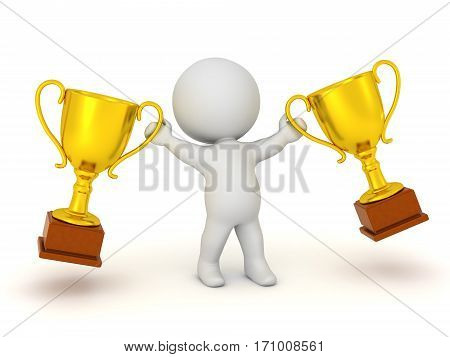 3D character holding up two large golden trophies. Isolated on white background.