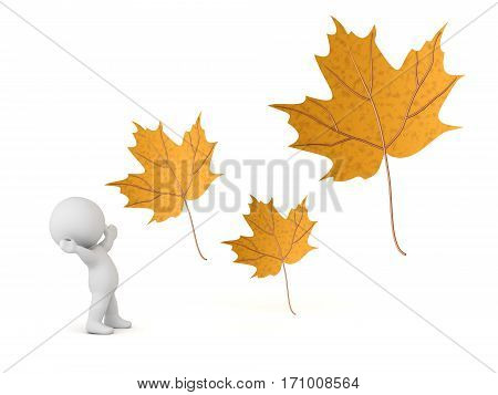 A 3D character cheering and three large autumn leaves. Isolated on white background.