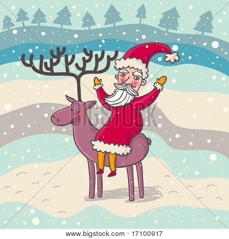 Cartoon Santa on his deer