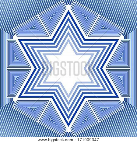 David star in blue and white design. Israel national symbol in outline design.