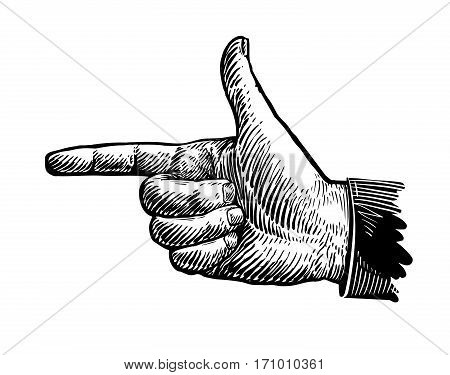 Hand, pointing finger. Sketch vector illustration isolated on white background