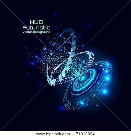 Futuristic interface, HUD,  sci-fi vector background for you technology design, web, card, brochure, template.