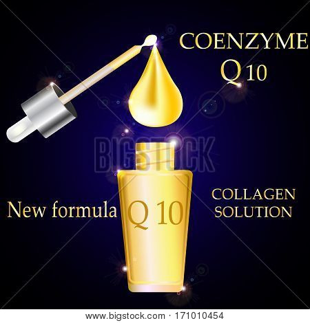 Co enzyme Q 10 bottle and pipette Collagen and serum with Gold dropper Concept Skin Care Cosmetic on dark background.