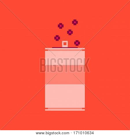 pixel icon in flat style can of soda