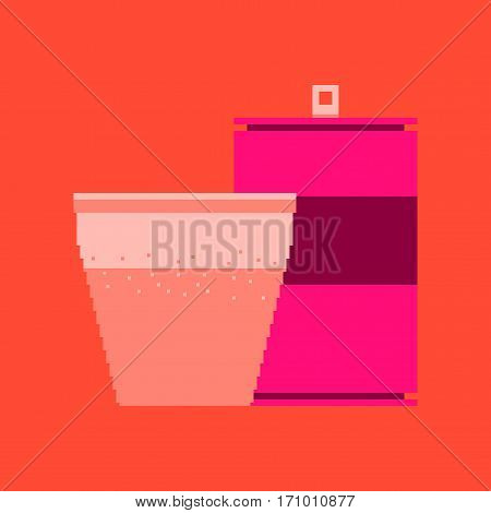 pixel icon in flat style can of soda and glass