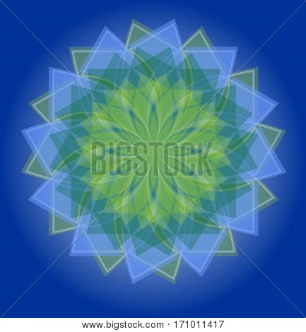 Semitransparent blue and green mandala on deep blue gradient background soothing colors of nature in geometric isolated star shape