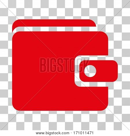 Wallet icon. Vector illustration style is flat iconic symbol red color transparent background. Designed for web and software interfaces.