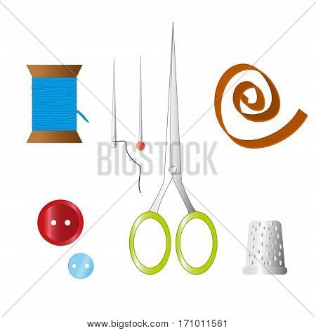 Color set of objects for sewing handicraft. Sewing tools and sewing kit