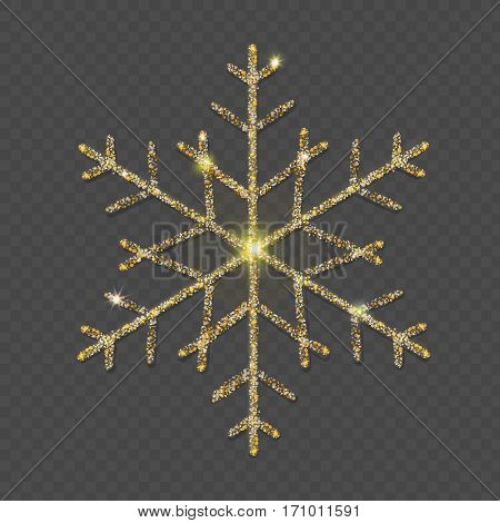 Sparkling golden snowflake with glitter texture on transparent background. Christmas, New Year glamorous greeting card or banner