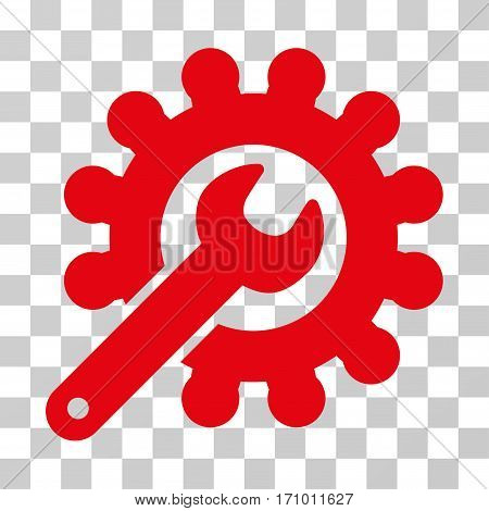 Wrench And Gear Customization Tools icon. Vector illustration style is flat iconic symbol red color transparent background. Designed for web and software interfaces.