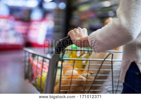 Mid section of woman holding groceries in shopping cart at supermarket