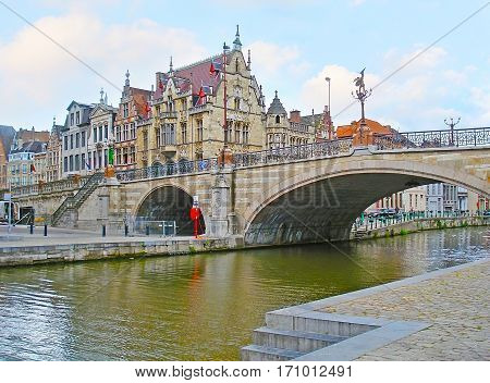 The St Michael's Bridge In Ghent