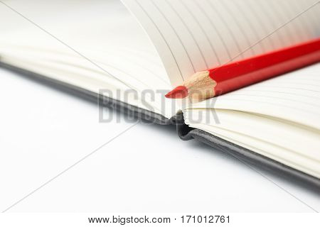 Colored pencil is inside the open notebooks