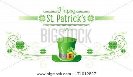 Happy Saint Patrick day border banner, isolated white background. Irish shamrock clover leaf frame, text letter, leprechaun hat icon. Traditional Northern Ireland celtic holiday poster