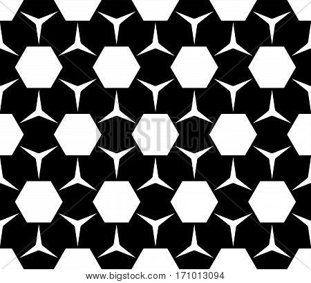 Vector monochrome seamless pattern, simple geometric figures, hexagons & triangles. Repeat abstract black & white background, modern dark endless texture. Design for prints, decoration, textile, digital, fabric