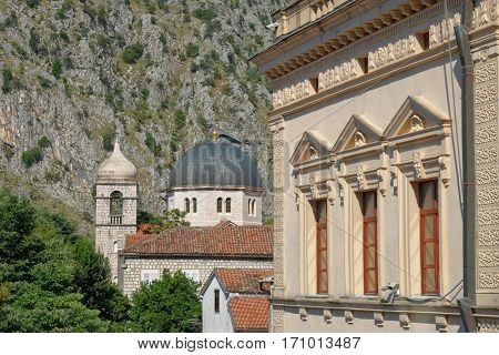 Kotor Old Town, bell tower and cupola of St. Nicholas Orthodox Church, Montenegro