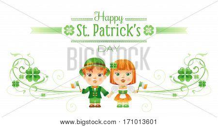 Happy Saint Patrick day border banner, isolated white background. Irish shamrock clover leaf frame, text letter logo, baby girl, boy icon. Traditional Northern Ireland celtic poster