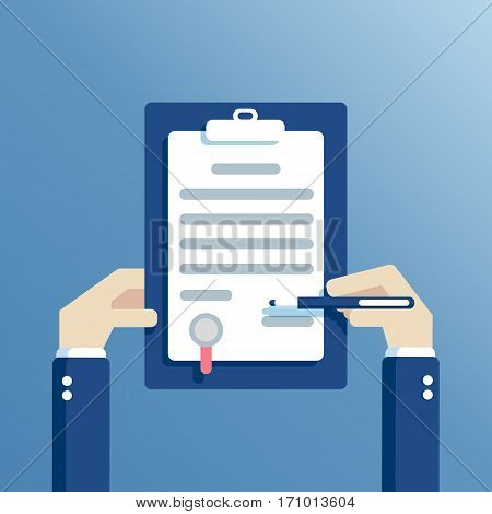 Business man hands holding contract and pen signing of a treaty business contract or agreement flat design vector illustration
