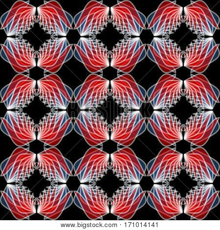Wing patterns in red semitransparent colors. Seamless abstract background. Repeating wings in mirror position.