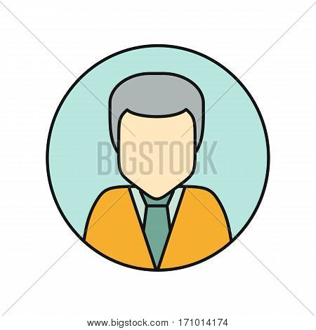 Young man private avatar icon. Young man in yellow shirt. Social networks business private users avatar pictogram. Round line icon. Isolated vector illustration on white background.