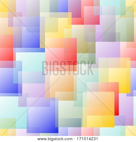 Transparent Overlapping Square Design In Pastel Rainbow Colors On White Background. Change The Base