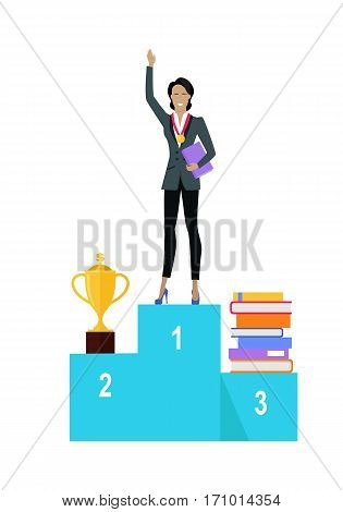 Business woman on pedestal of winners. Business woman in business suit with golden medal on his chest. Winner business concept. Business success and award concept. Smiling young woman personage.